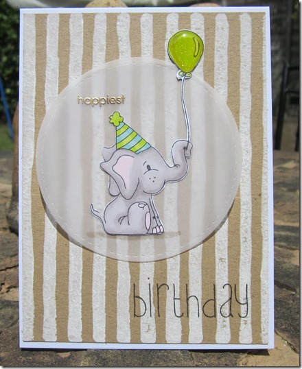 Stampin' Up Brushstrokes background and Simon Says Stamp Birthday celebration elephant