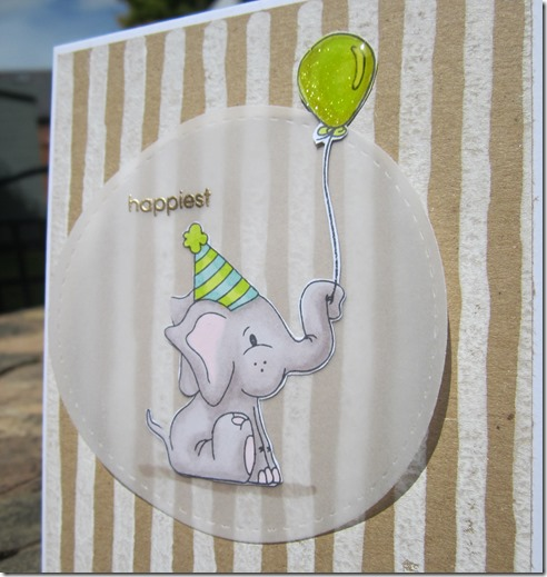card using Stampin' Up Brushstrokes background and Simon Says Stamp Birthday celebration elephant