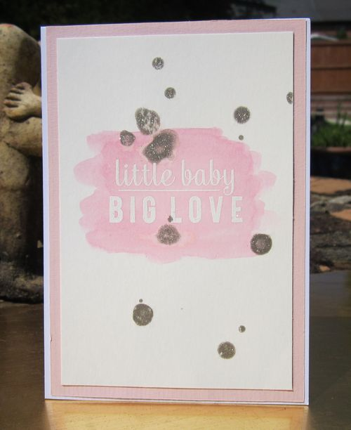 Card for DCM using Reverse Confetti text stamp and gansai tambi watercolours