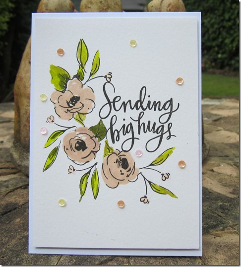card using Altenew Painted flowers and Simon Says Stamp Big Scripty Greetings
